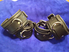 7 pc Padded Leather ankle collar cuffs set w/custom collar & locking wrist