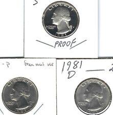 1981-S Proof  Type I, with BU P & D Washington Quarters (3 Coins)!