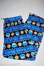 Mens COOKIE MONSTER PAJAMA PANTS Blue Fleece SLEEP LOUNGE Size S 28-30