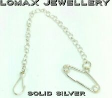 Sterling Silver Brooch Safety Chain and Clip #
