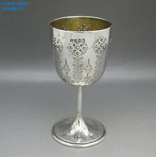 ANTIQUE VICTORIAN NICE SOLID STERLING SILVER TOASTING GOBLET 98g LONDON 1868