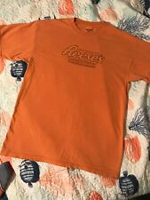 Vintage M 80s Reese's Peanut Butter Cups Logo Orange T-Shirt Hershey's Chocolate