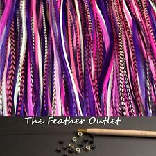 Feathers Hair Extensions Kit Lot 10 Grizzly long Natural Pink Purple GIRLY KIT