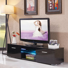 High Gloss Black LED TV Stand Cabinet Console Furniture with Shelves 2 Drawers