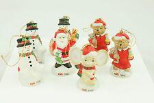 Vintage CVS Ceramic Snowman Santa Christmas Ornament Holiday Tree Decoration Lot