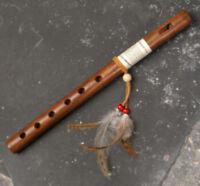 "Kokopelli Wood Flute Native American Style Traditional Six hole 13"" Long Beaded."