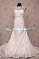 1595 White Ivory wedding dress A-line gown with boat neck lace jacket Benita NEW