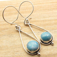 925 Silver Plated Over Solid Copper Earrings ! Exclusive Simulated LARIMAR Gift
