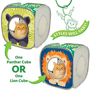 Kitty City Jungle Cat Cube Combo, Collapsible Cat Cube, Cat Bed, Tunnel, Cat