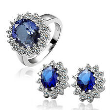 18k White gold GF wedding Solid Ring Stud Earrings Set Lab Diamond Sapphire