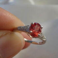 1.00ct Certified Padparadscha Sapphire Ring