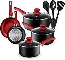 Kitchen Cookware Set, 11 Piece Pots and Pans Set Nonstick, Dishwasher Safe, Red