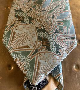Iconic Vintage LIBERTY Hera Green Brown Art Nouveau Pattern Silk Tie M I England