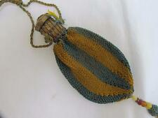 ANTIQUE VICTORIAN GREEN & YELLOW KNITTED EXPANDING BRASS CLASP PURSE c1880