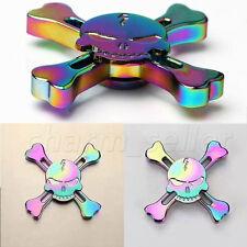 Rainbow Skull Metal Tri-Fidget Hand Spinner Finger EDC ADHD Autism Gyro Kids Toy