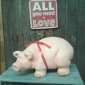 XL Sparschwein Keramik Spardose Schwein mit Schleife 40cm Sparbüchse Deko Tisch