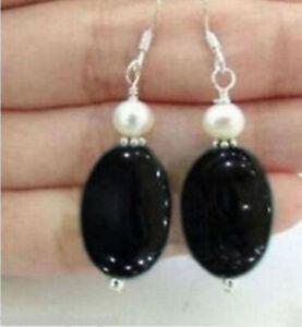 NATURAL 13X18MM BLACK AGATE ONYX & 7-8MM WHITE PEARL DANGLE EARRING SILVER HOOK