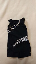 Girls Sz X Sm Black n White Zebra Sparkly Gymnastic Dance Unitard
