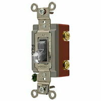HUBBELL HBL1221PLC Wall Switch - Single Pole - 20A 120/277VAC - Clear Togggle...