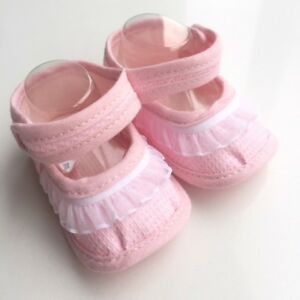Pex frill baby girl bootees - pink
