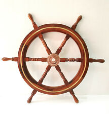 "30"" Nautical Marine Wood Steering Ship Wheel Home Wall Decor ~ Brass Ring"