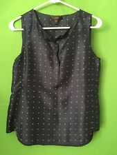 7225)  J CREW sz 00 navy blue polka dot pullover silk blouse sleeveless