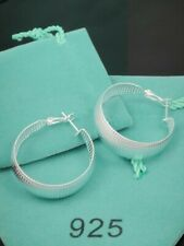 NEW LADIES LARGE SILVER ROUND EARRINGS FREE ORGANZA GIFT BAG FREE P&P