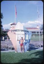 Water Ski Swimsuit Kite Man CYPRESS GARDENS FL Vintage 1964 Slide Photo Florida