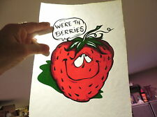 WE'RE TH BERRIES STRAWBERRY IRON ON ROACH T SHIRT TRANSFER NEW OLD STOCK 20a