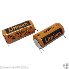 2 X Sanyo CR17335 3V 3 Pin Batteries PLC Back Up. Batteries Dated 09/17