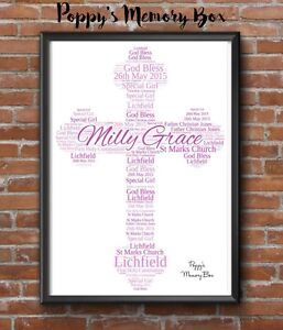 Cross Christening First Communion Confirmation Personalised Word Art Gift Print