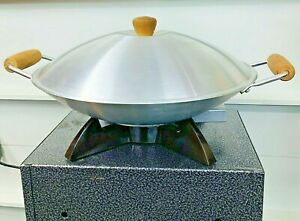 """Vintage Oster 14"""" Electric Wok w/ Cord Thermostat Heat Controlled Non-Stick Cook"""