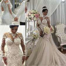 Embroidery Beaded Satin Mermaid Dubai Wedding Dress Sheer Long Sleeves Bridal Go