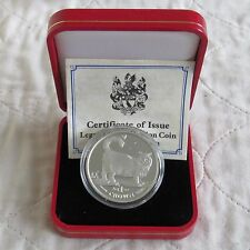 ISLE OF MAN 1998 1oz BIRMIN CAT .999 FINE SILVER PROOF CROWN - boxed/coa