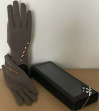 Ladies Brown Taupe Gloves Gold Studs One Size Boxed