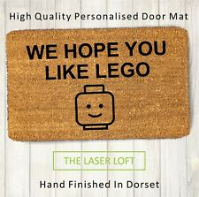 Coir Door Mat Lego Head Funny Novelty 40cm x 60cm Can Be Personalised