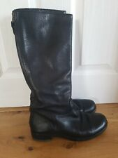 Black Real Leather Boots Size 7, 39 EUR