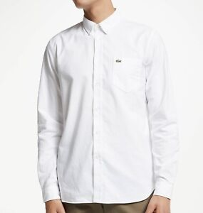 LACOSTE Men's Oxford Long Sleeve Button Down Causal Dress Shirt - Classic Fit