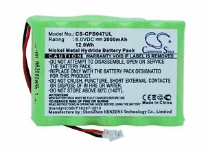 Replacement Battery For Universel 6v 2000mAh / 12.0Wh Cordless Phone Battery