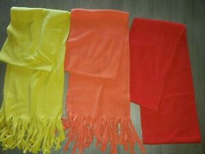 3 FLEECE WINTER SCARVES LOT orange yellow red men women SOLID COLORS one size