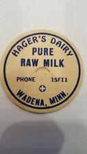 MILK BOTTLE CAP. Hager's Dairy Wadena,Minn, pure raw milk/blue