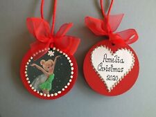 Personalised Tinkerbell Tree Decoration Wooden Bauble Gift... Xmas Message