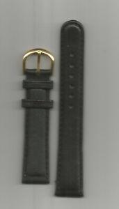 Uhrenarmband 18 mm Leder Schwarz  Dornschließe Gold