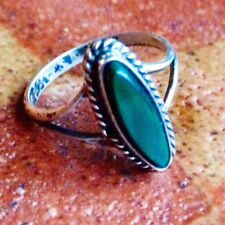 Size 5.5 Vintage 1940s Malachite or green turquoise Sterling Silver Pinky Ring