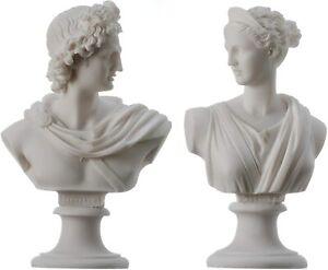 Artemis Diana and Apollo Bust Greek Statues Figurine Gods Alabaster