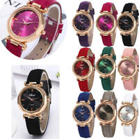 Women Ladies Leather Strap Casual Watch Luxury Analog Quartz Crystal Wristwatch