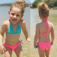 Toddler Kids Baby Girl Hit Color Swimsuit Swimwear Bathing Beachwear Bikini Set