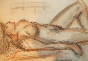 Vintage pastel painting nude woman portrait