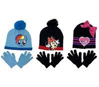 Girls Kids Knit Hat Beanie & Gloves Set JoJo Minnie My Little Pony Choose