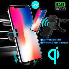 Qi Wireless Car Fast Charger Air Vent Mount Holder For Samsung Galaxy S9 S8 S7